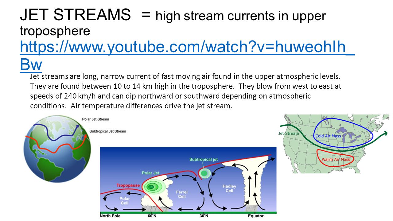 JET STREAMS = high stream currents in upper troposphere https://www