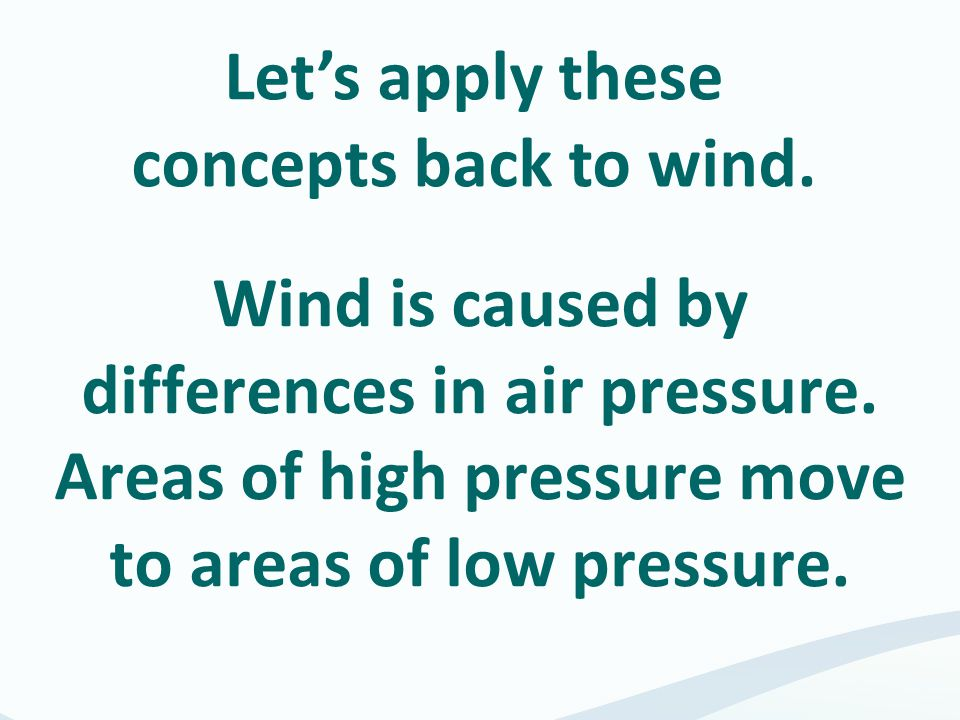 Let's apply these concepts back to wind.