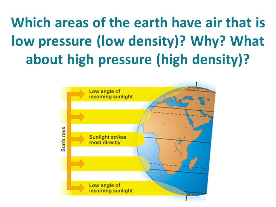 Which areas of the earth have air that is low pressure (low density)