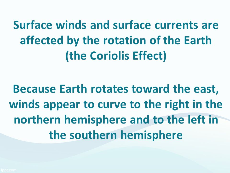 Surface winds and surface currents are affected by the rotation of the Earth (the Coriolis Effect) Because Earth rotates toward the east, winds appear to curve to the right in the northern hemisphere and to the left in the southern hemisphere