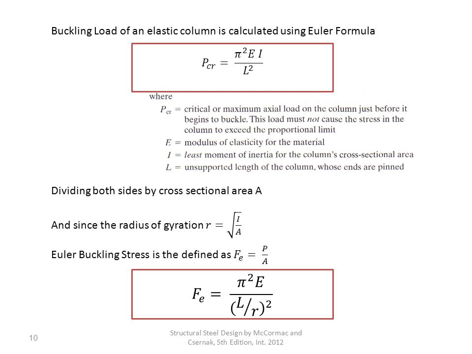 Buckling Load of an elastic column is calculated using Euler Formula