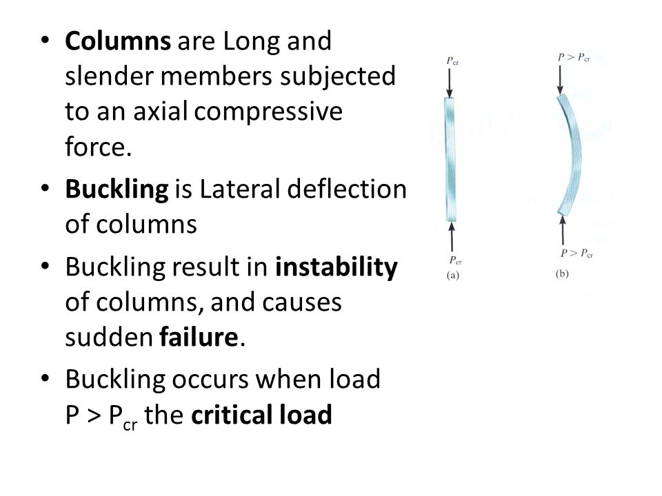 Columns are Long and slender members subjected to an axial compressive force.