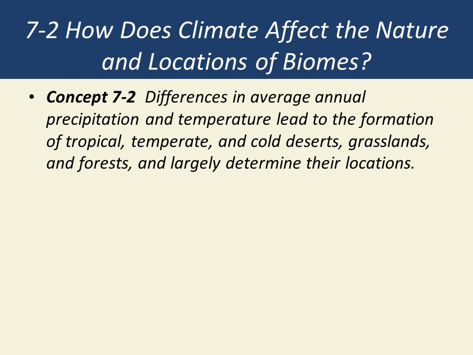 7-2 How Does Climate Affect the Nature and Locations of Biomes