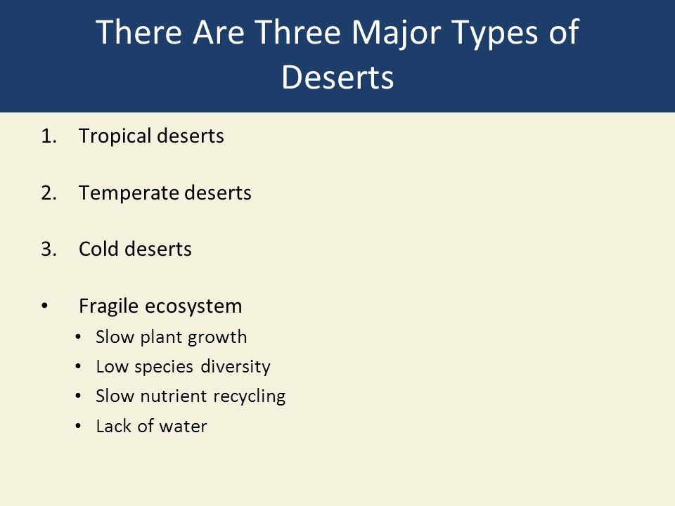 There Are Three Major Types of Deserts