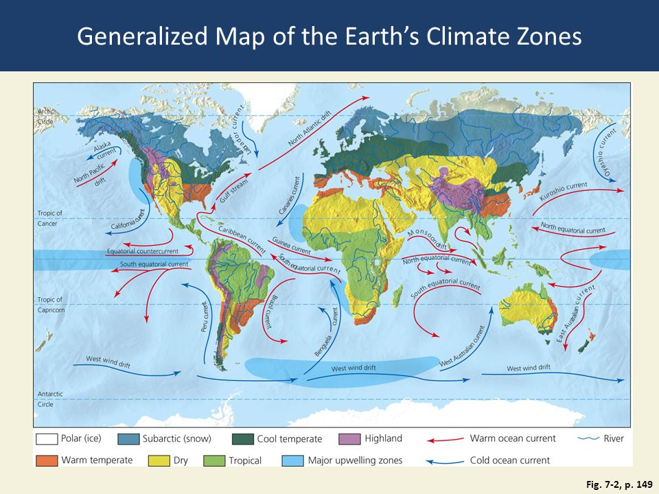 Generalized Map of the Earth's Climate Zones