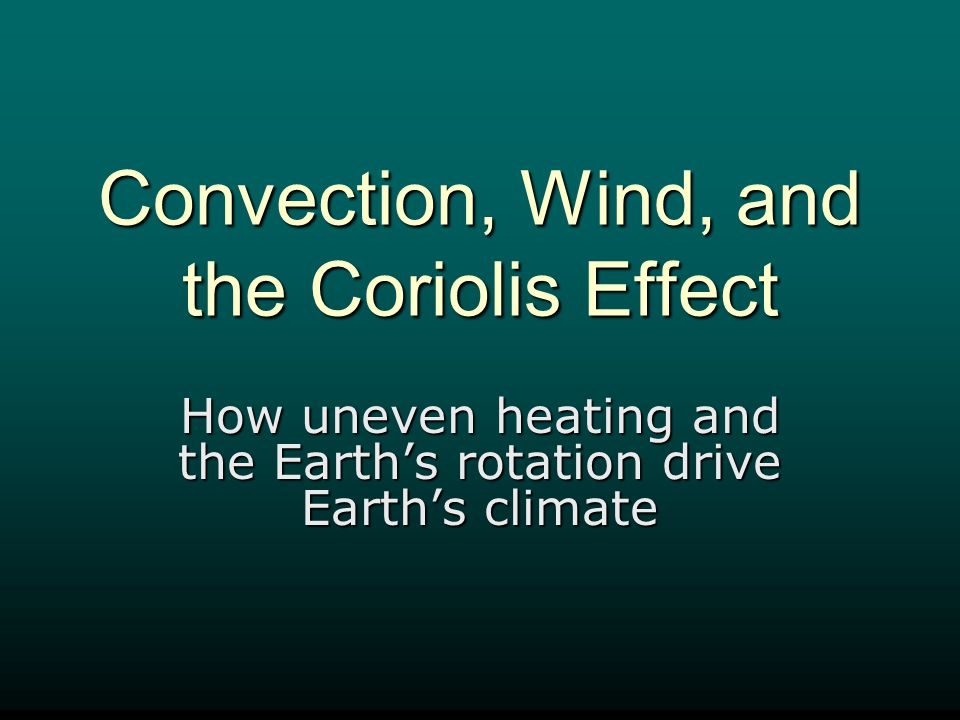 Convection, Wind, and the Coriolis Effect