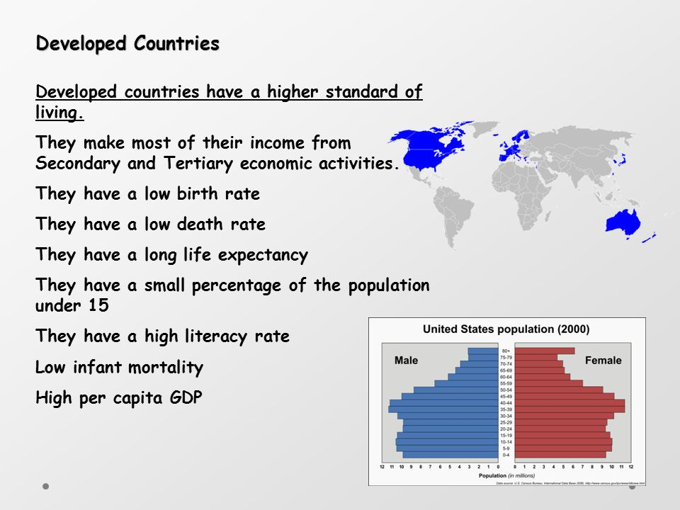 Developed Countries Developed countries have a higher standard of living.