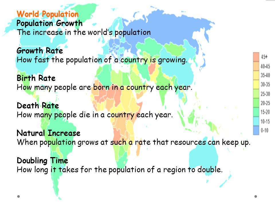 World Population Population Growth. The increase in the world's population. Growth Rate. How fast the population of a country is growing.