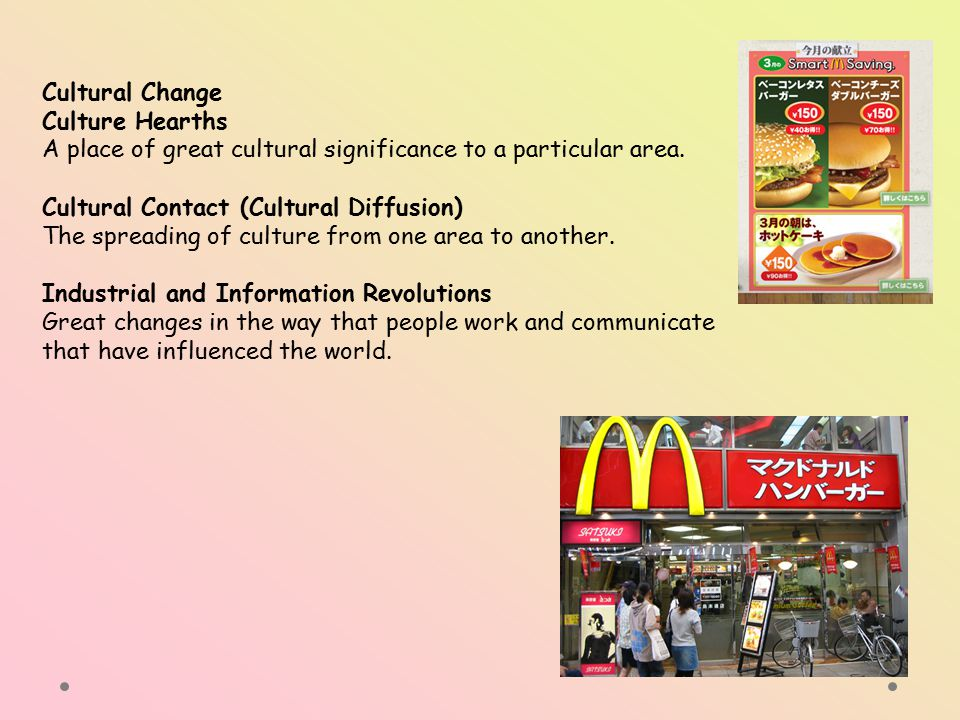 Cultural Change Culture Hearths. A place of great cultural significance to a particular area. Cultural Contact (Cultural Diffusion)