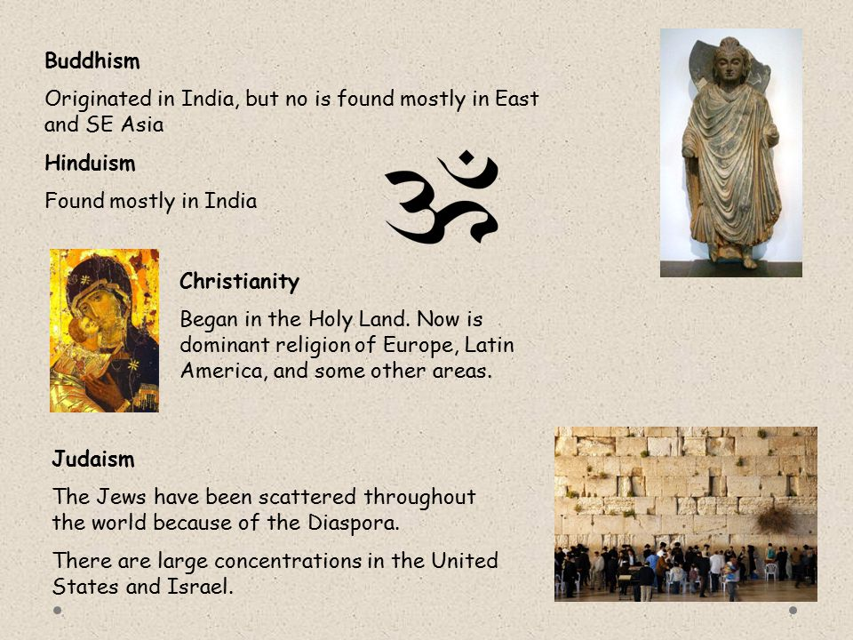 Buddhism Originated in India, but no is found mostly in East and SE Asia. Hinduism. Found mostly in India.
