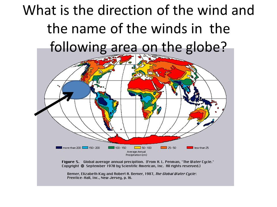 What is the direction of the wind and the name of the winds in the following area on the globe
