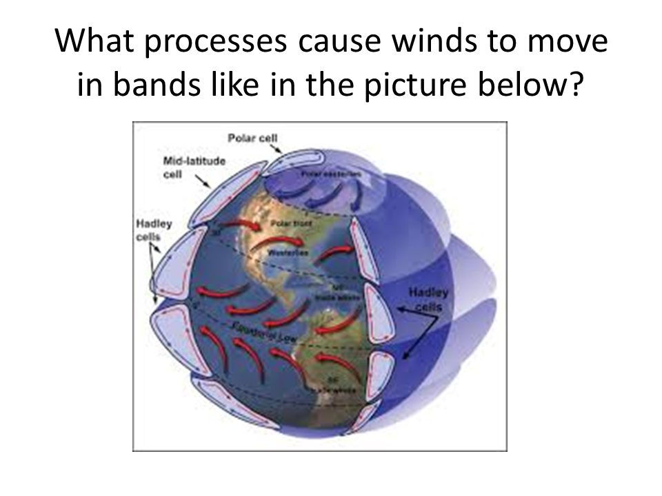 What processes cause winds to move in bands like in the picture below