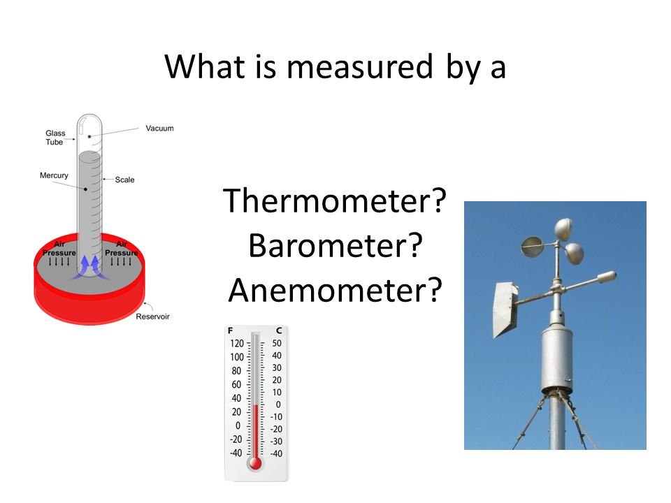 What is measured by a Thermometer Barometer Anemometer