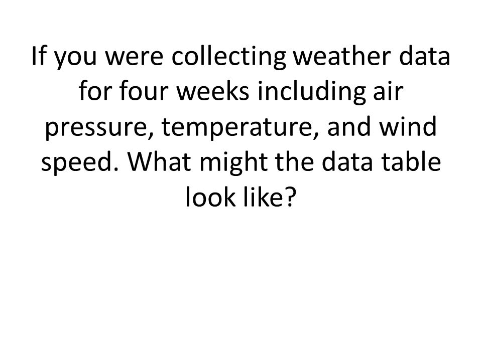 If you were collecting weather data for four weeks including air pressure, temperature, and wind speed.