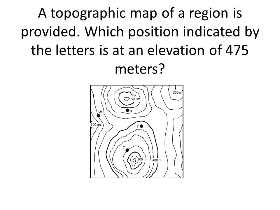 A topographic map of a region is provided