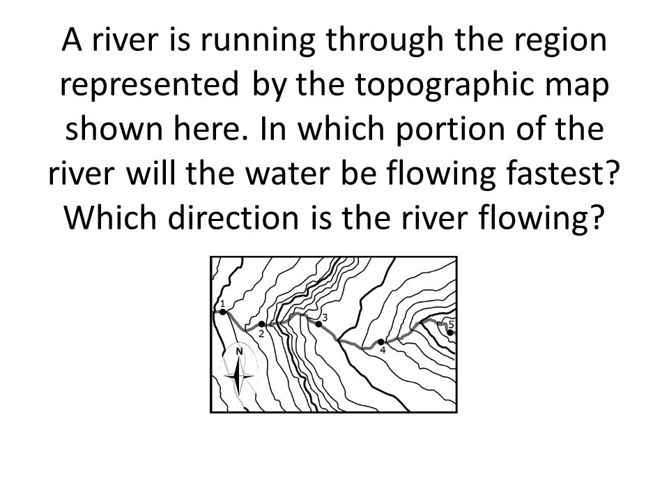 A river is running through the region represented by the topographic map shown here.