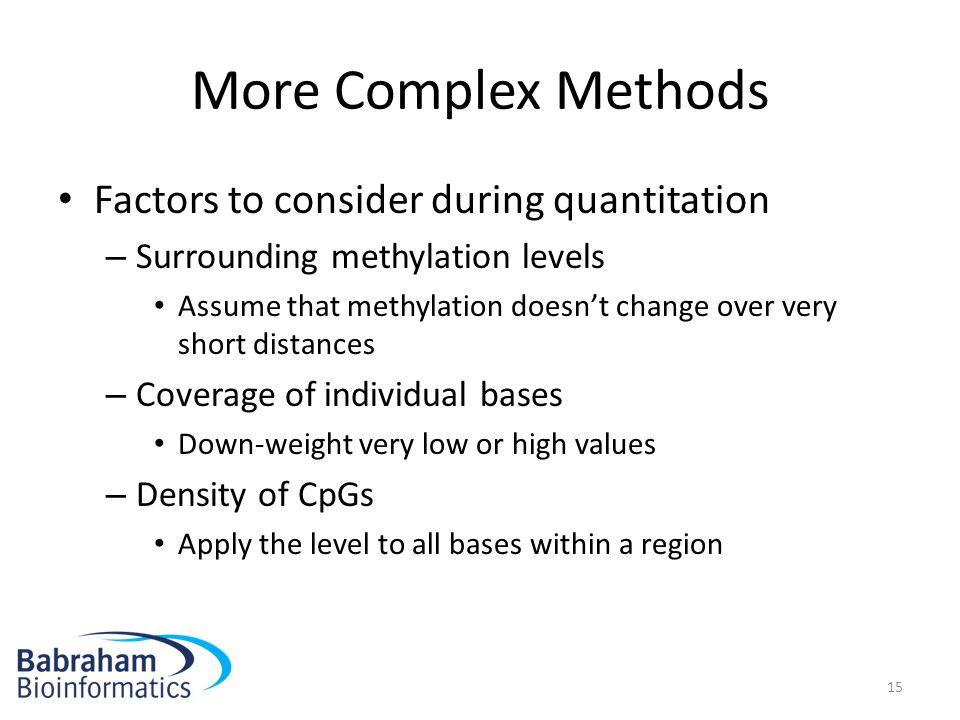 More Complex Methods Factors to consider during quantitation