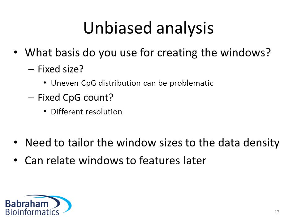 Unbiased analysis What basis do you use for creating the windows