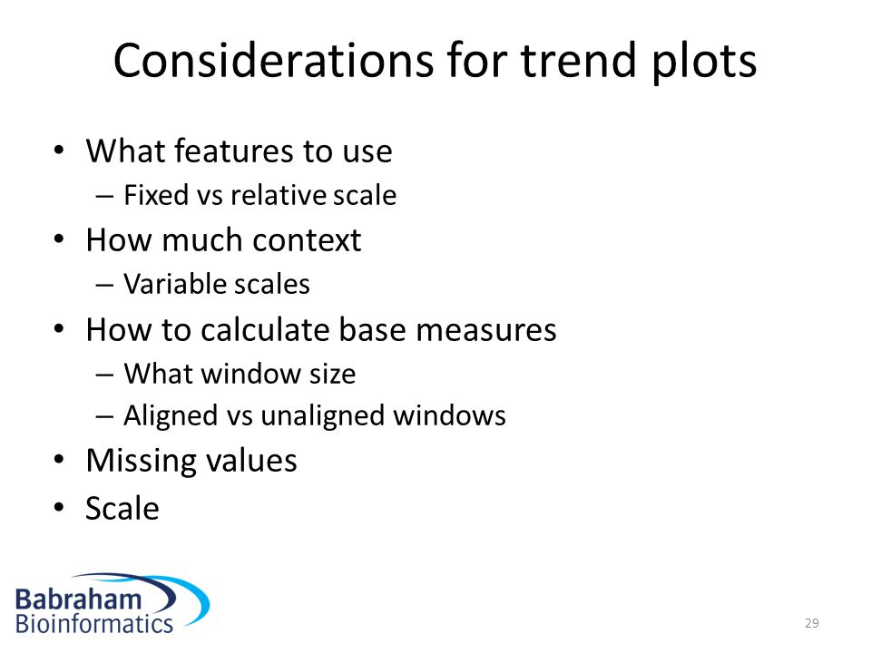 Considerations for trend plots