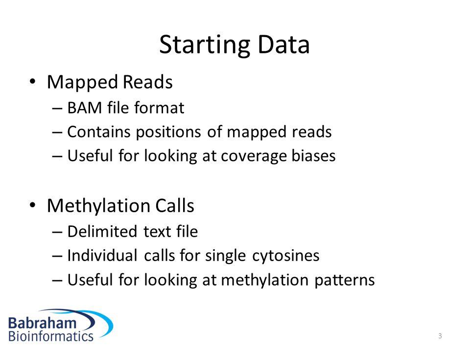 Starting Data Mapped Reads Methylation Calls BAM file format