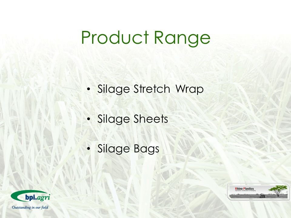 Product Range Silage Stretch Wrap Silage Sheets Silage Bags