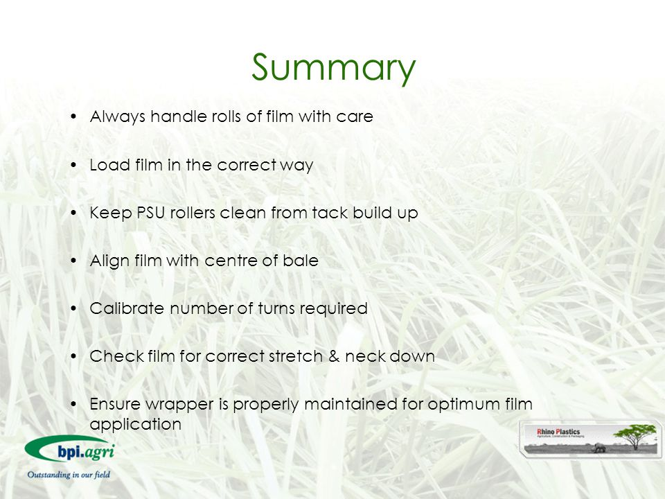 Summary Always handle rolls of film with care