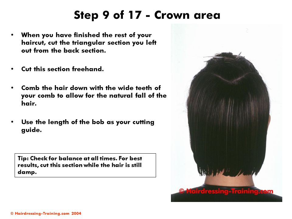 Step 9 of 17 - Crown area When you have finished the rest of your haircut, cut the triangular section you left out from the back section.