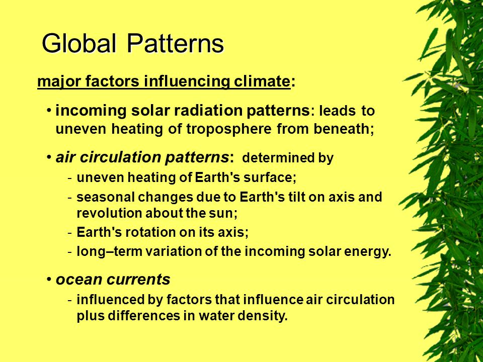 Global Patterns major factors influencing climate: