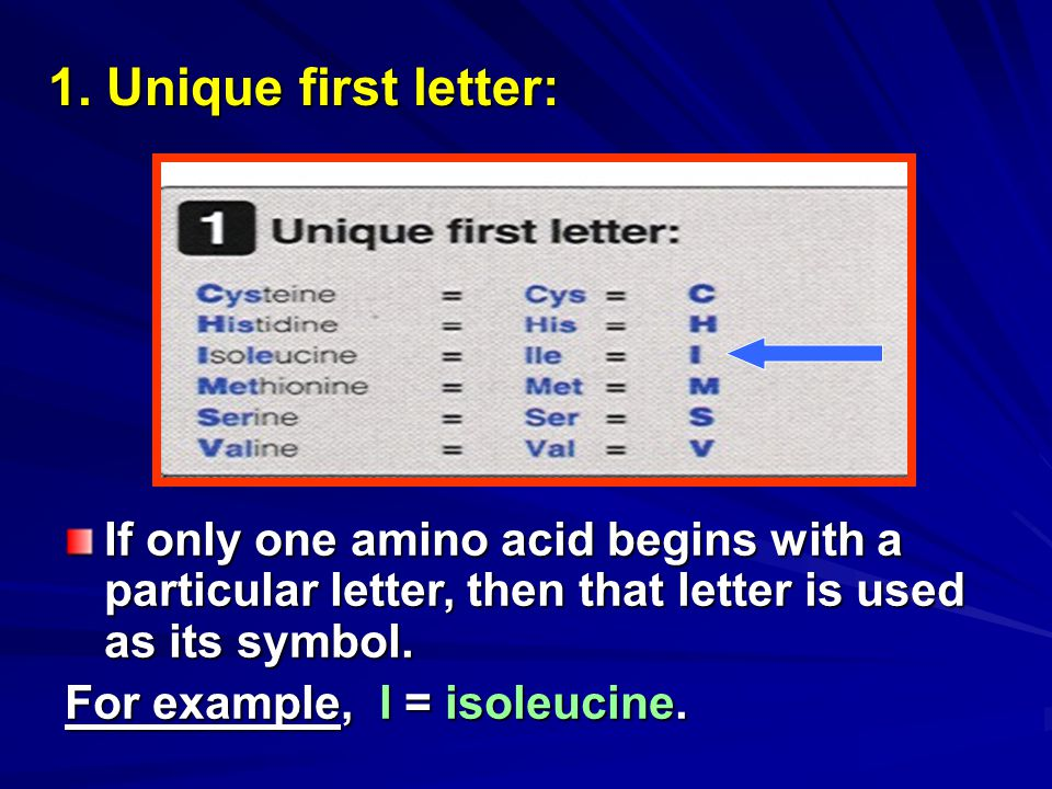 1. Unique first letter: If only one amino acid begins with a particular letter, then that letter is used as its symbol.