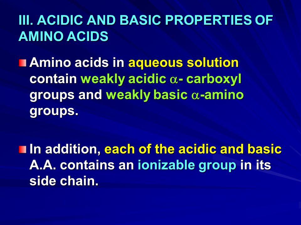 III. ACIDIC AND BASIC PROPERTIES OF AMINO ACIDS