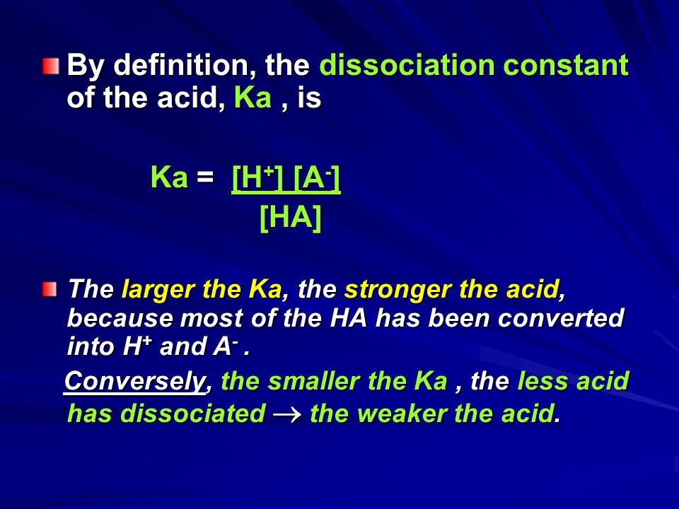 By definition, the dissociation constant of the acid, Ka , is