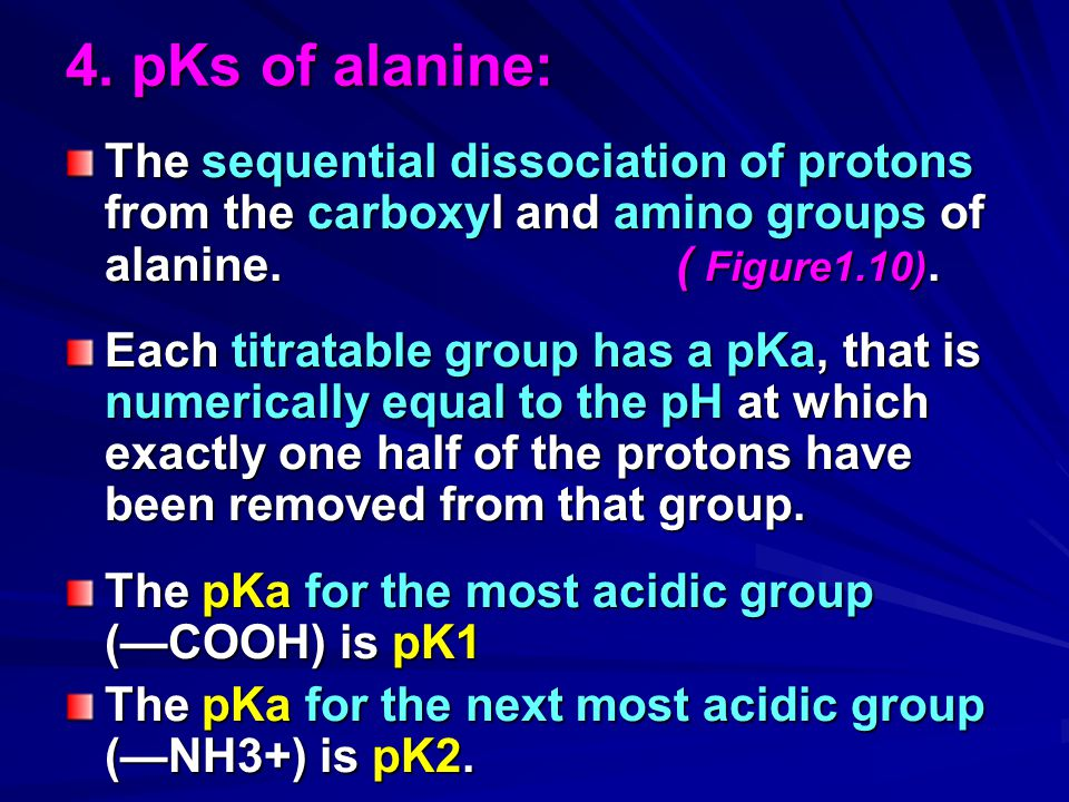 4. pKs of alanine: The sequential dissociation of protons from the carboxyl and amino groups of alanine. ( Figure1.10).
