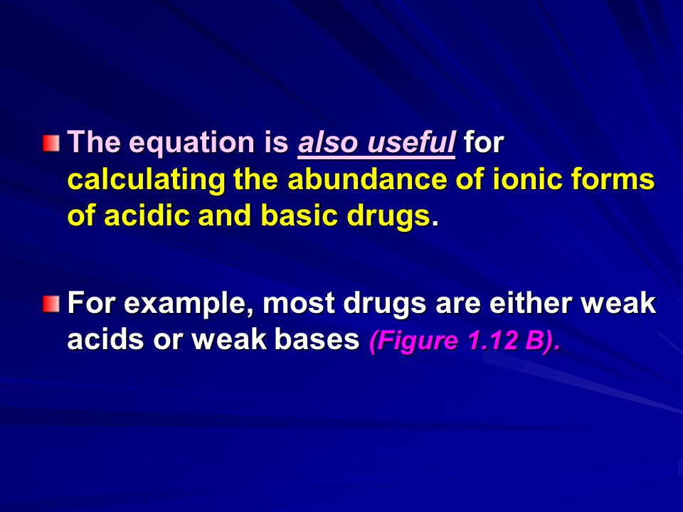 The equation is also useful for calculating the abundance of ionic forms of acidic and basic drugs.