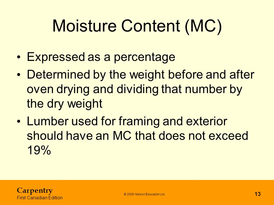 Moisture Content (MC) Expressed as a percentage