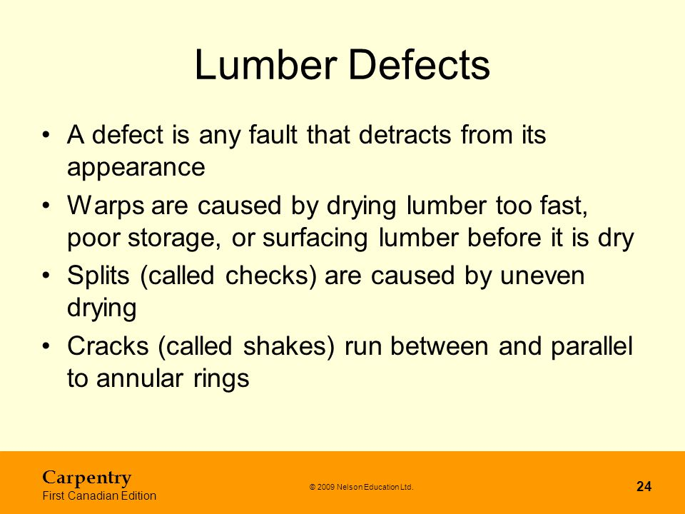 Lumber Defects A defect is any fault that detracts from its appearance