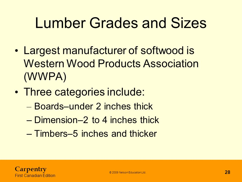 Lumber Grades and Sizes