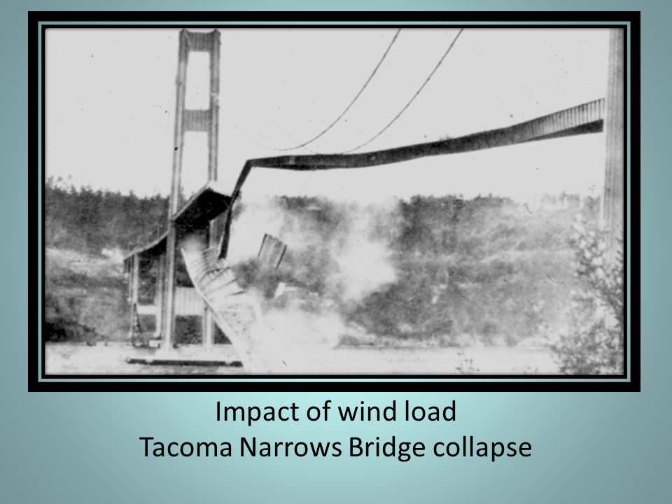 Impact of wind load Tacoma Narrows Bridge collapse