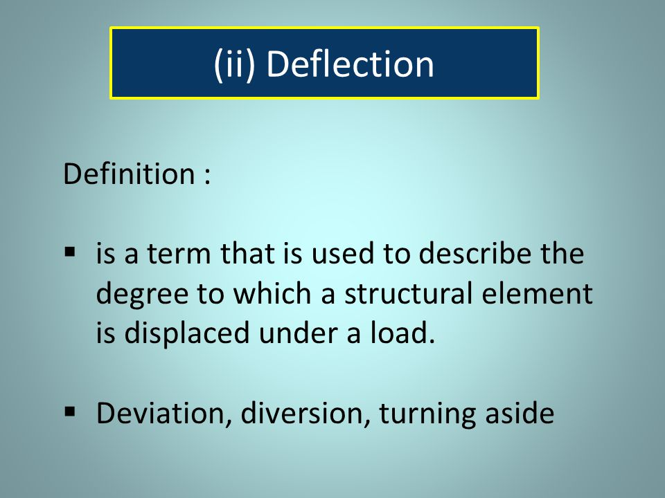 (ii) Deflection Definition :