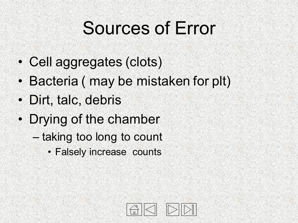 Sources of Error Cell aggregates (clots)