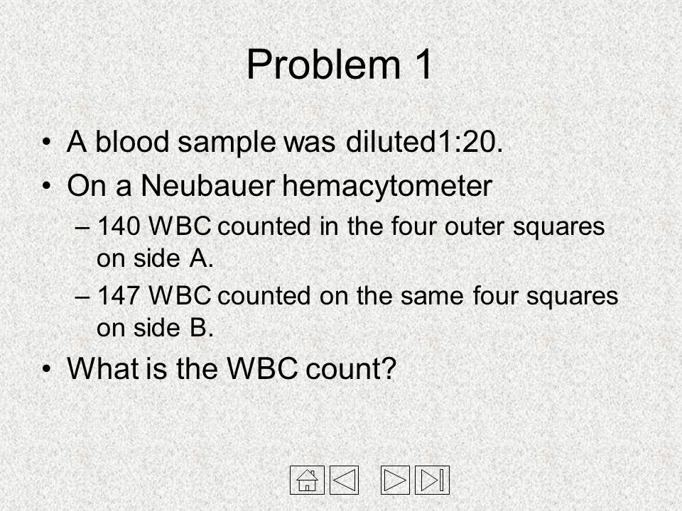 Problem 1 A blood sample was diluted1:20. On a Neubauer hemacytometer