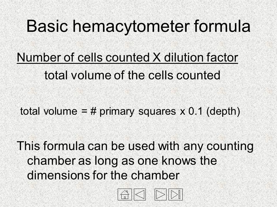 Basic hemacytometer formula