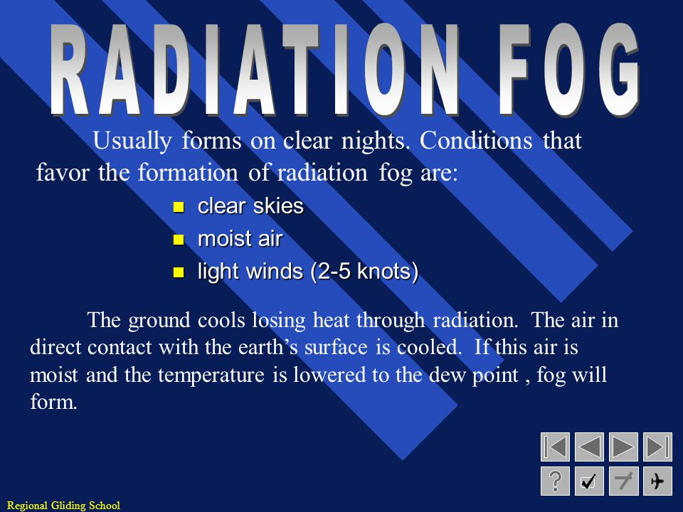 RADIATION FOG Usually forms on clear nights. Conditions that favor the formation of radiation fog are: