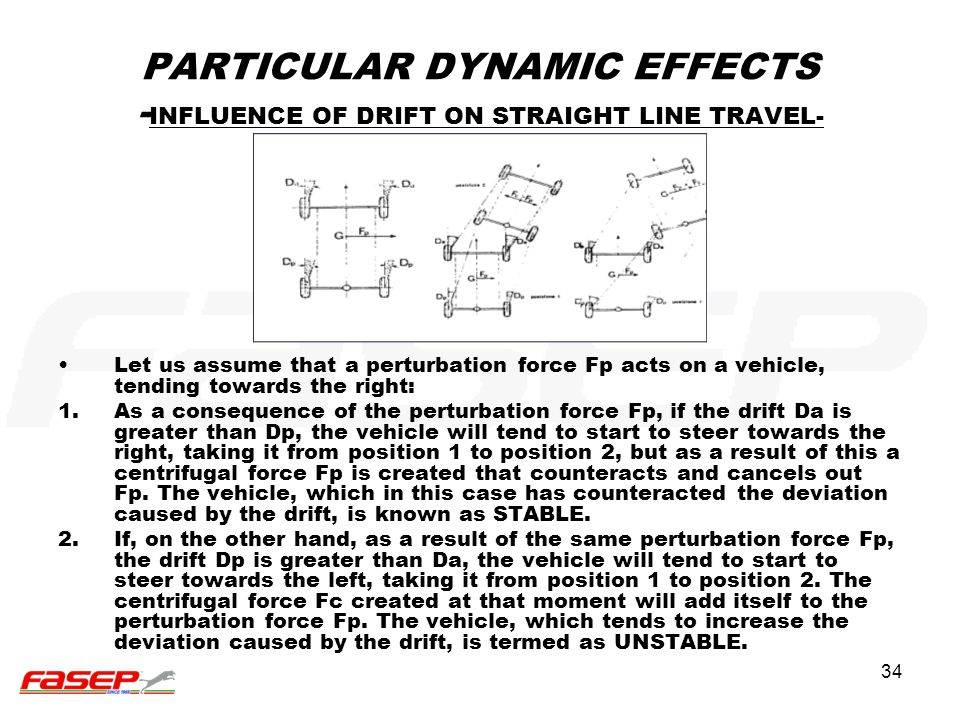 PARTICULAR DYNAMIC EFFECTS -INFLUENCE OF DRIFT ON STRAIGHT LINE TRAVEL-