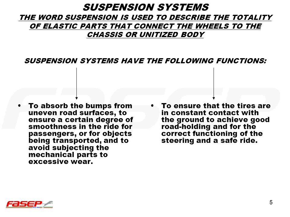 SUSPENSION SYSTEMS THE WORD SUSPENSION IS USED TO DESCRIBE THE TOTALITY OF ELASTIC PARTS THAT CONNECT THE WHEELS TO THE CHASSIS OR UNITIZED BODY SUSPENSION SYSTEMS HAVE THE FOLLOWING FUNCTIONS: