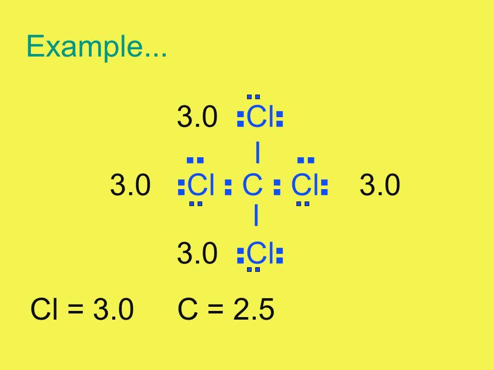 Example... 3.0 :Cl: .. I .. 3.0 :Cl : C : Cl: 3.0 I Cl = 3.0 C = 2.5