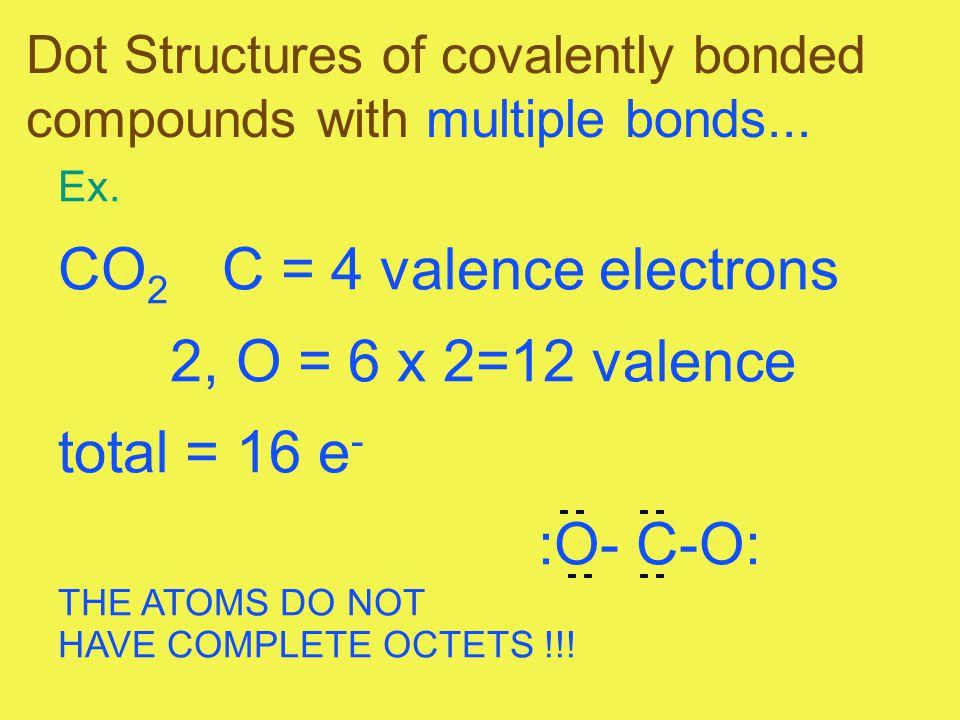 CO2 C = 4 valence electrons 2, O = 6 x 2=12 valence total = 16 e-