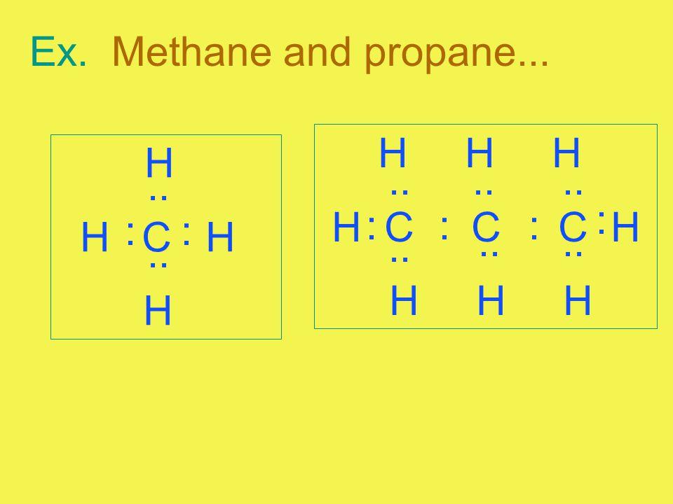 Ex. Methane and propane... H H H. H C C C H. H. H C H. .. .. .. .. :