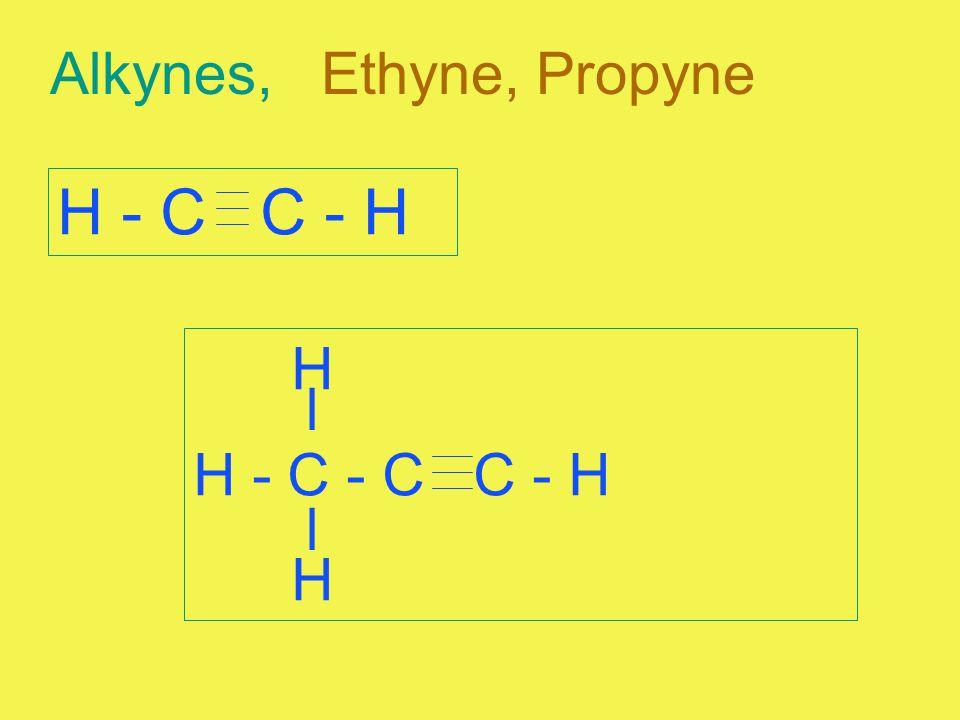 Alkynes, Ethyne, Propyne