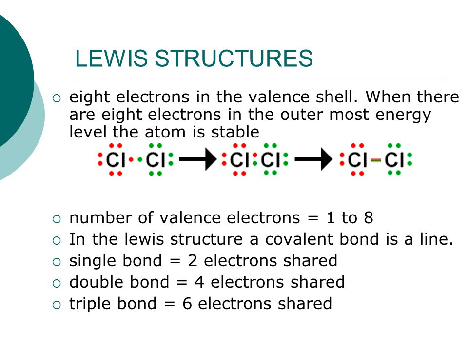 LEWIS STRUCTURES eight electrons in the valence shell. When there are eight electrons in the outer most energy level the atom is stable.