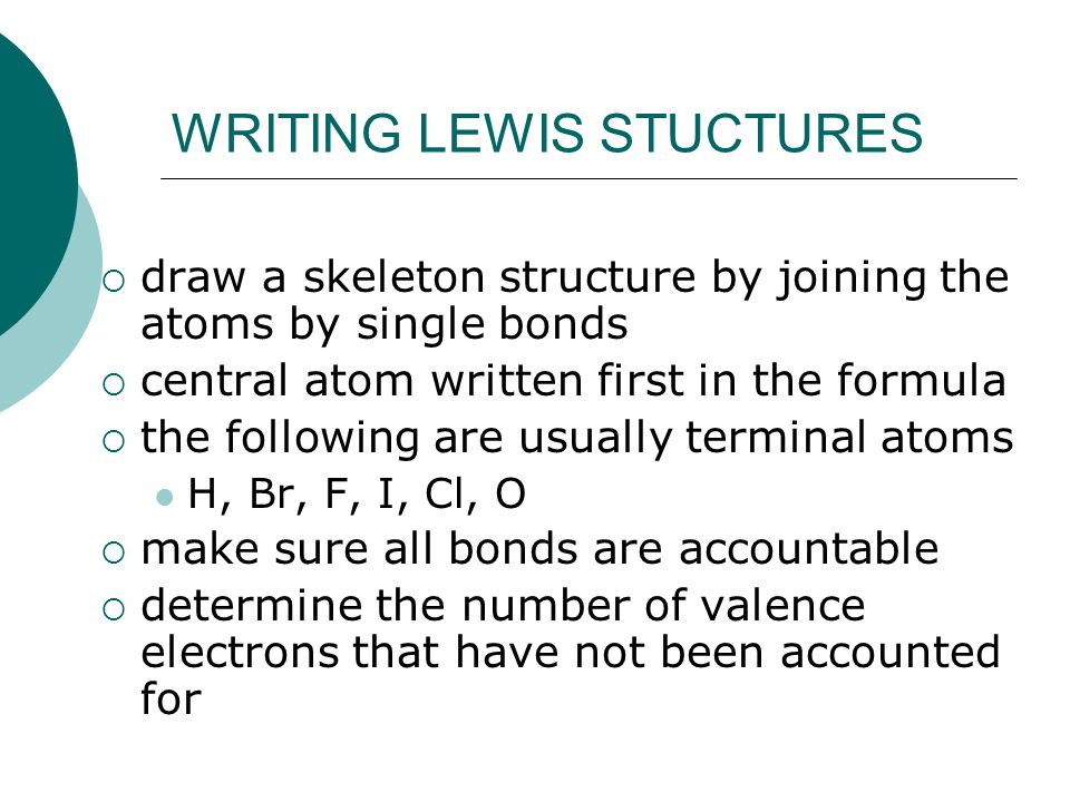 WRITING LEWIS STUCTURES